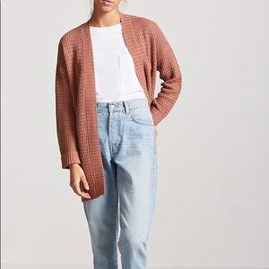 F21 - Mauve Longline Knit Sweater Cardigan